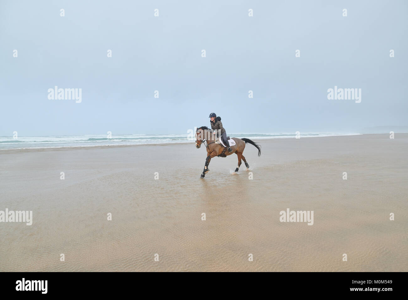 Horse Rider Galloping across the beach at low tide, from right to left. Landscape image with noticeable wind on - Stock Image