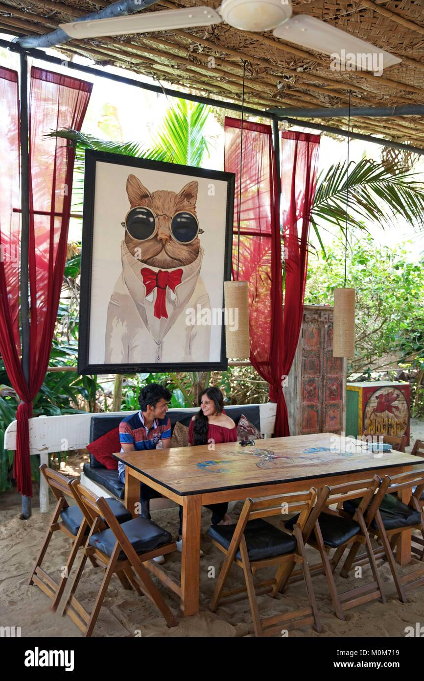 India,Goa,Morjim beach,young couple seating under a painting cat portrait in the beach restaurant la Plage - Stock Image