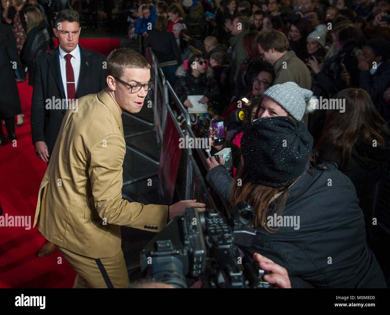 London, UK. 22nd Jan, 2018. Will Poulter attends the 'Maze Runner: The Death Cure' film premiere, London, - Stock Image