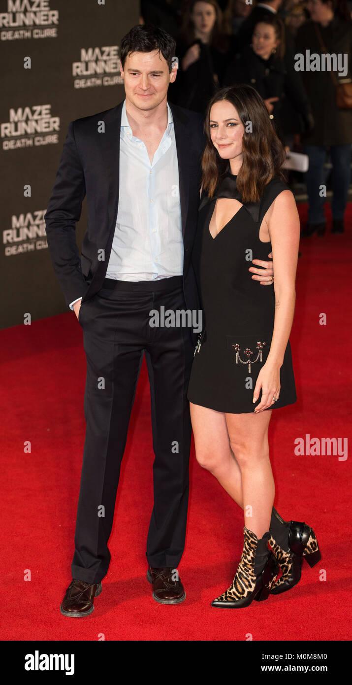 London, UK. 22nd Jan, 2018. Benjamin Walker and Kaya Scodelario attends the 'Maze Runner: The Death Cure' - Stock Image