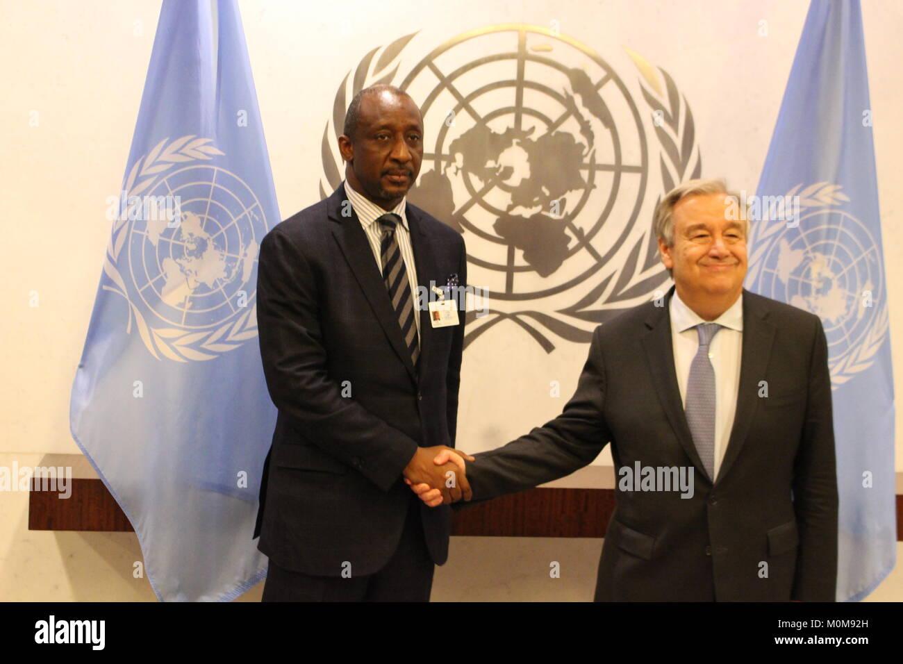 UN, New York, USA. 22nd Jan, 2018. UN Sec-Gen Antonio Guterres met Mali's Foreign Minister Tieman Hubert Coulibaly. Stock Photo