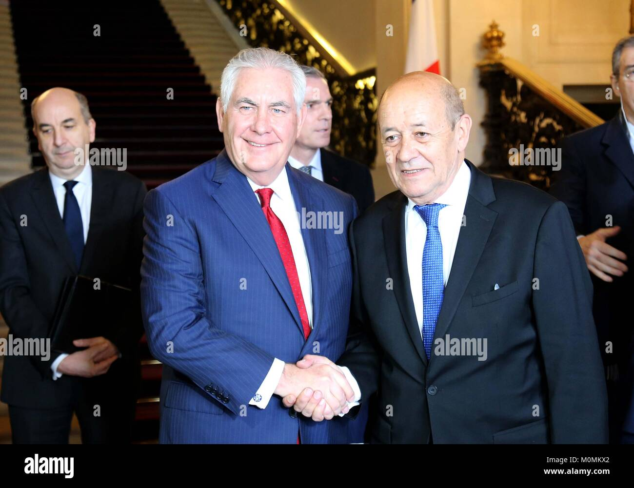 Paris, France. 23rd January, 2018. U.S. Secretary of State Rex Tillerson shakes hands with French Foreign Minister Stock Photo