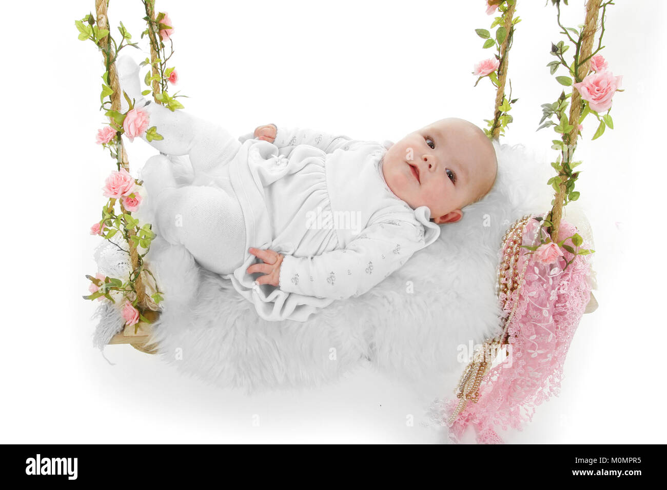 Happy beautiful baby girl, 4 months old, - Stock Image