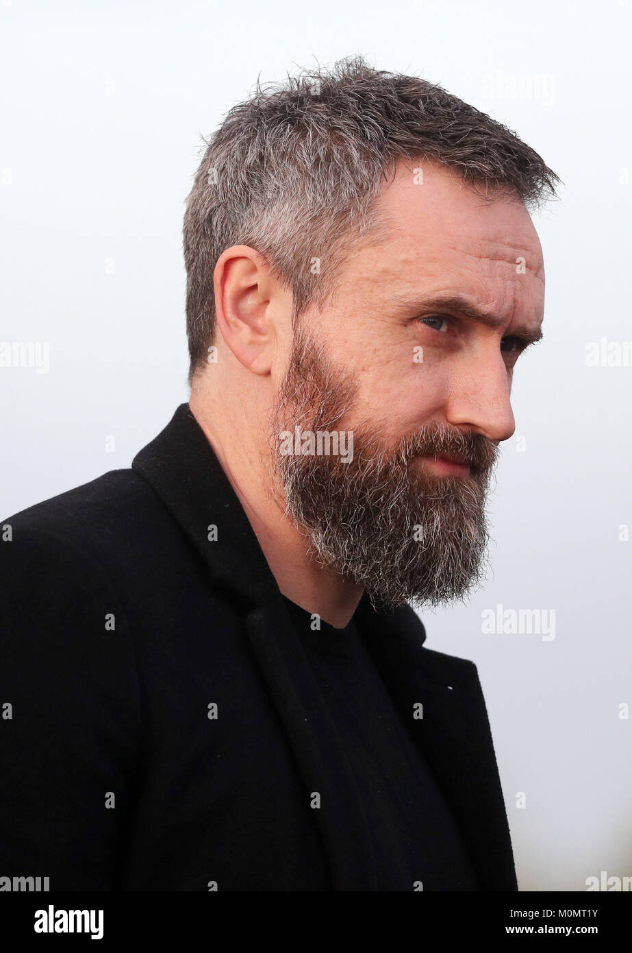 Band member Noel Hogan arrives for the funeral of The Cranberries singer Dolores O'Riordan at Saint Ailbe's - Stock Image