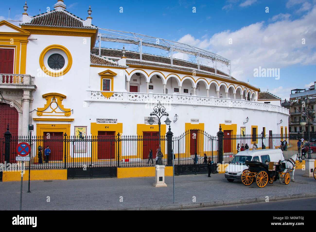 Seville, Andalusia, Spain -  March 27, 2008: bullring (plaza de toros) is called the Plaza de Toros de la Real Maestranza - Stock Image