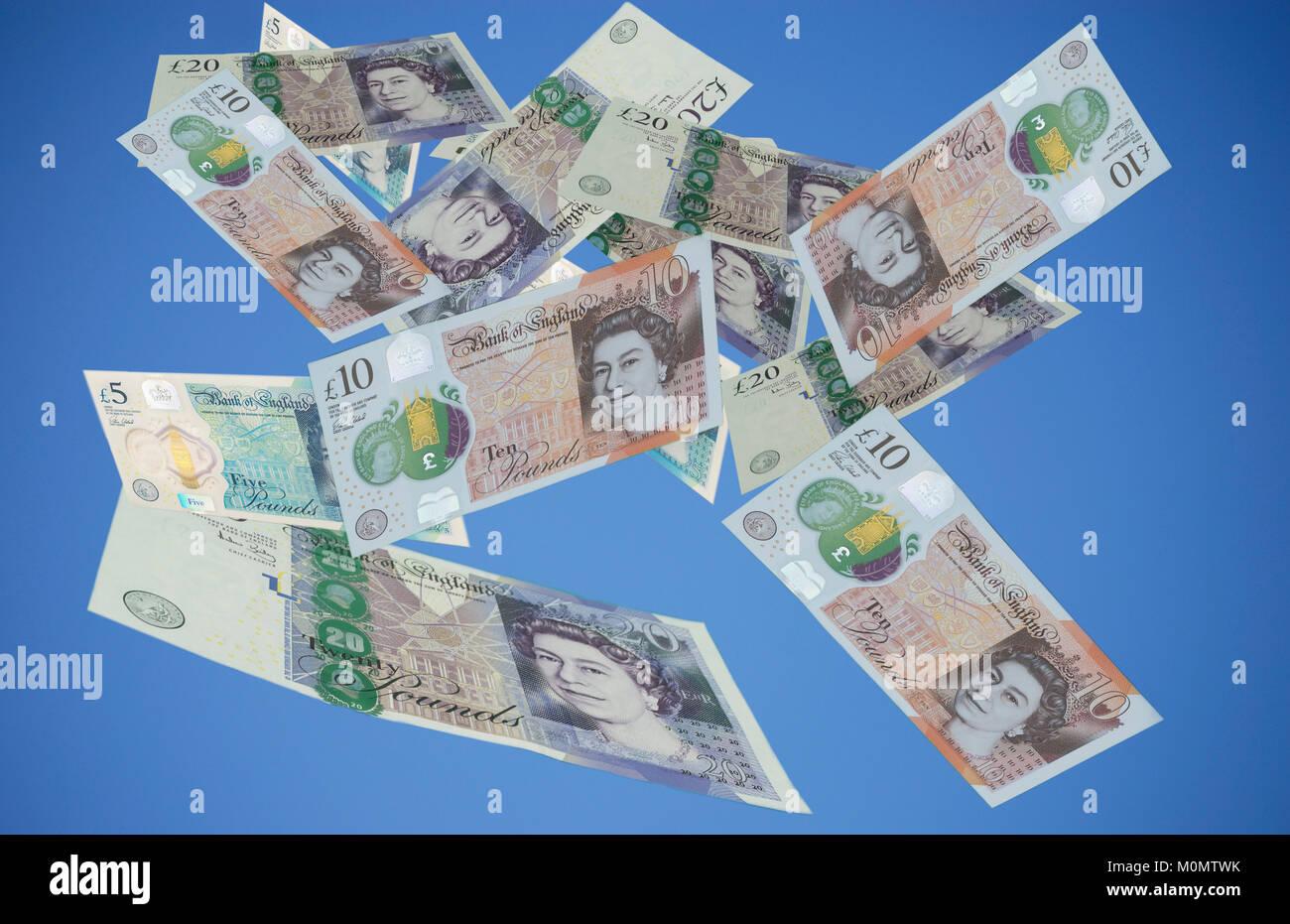 Falling pounds - Stock Image