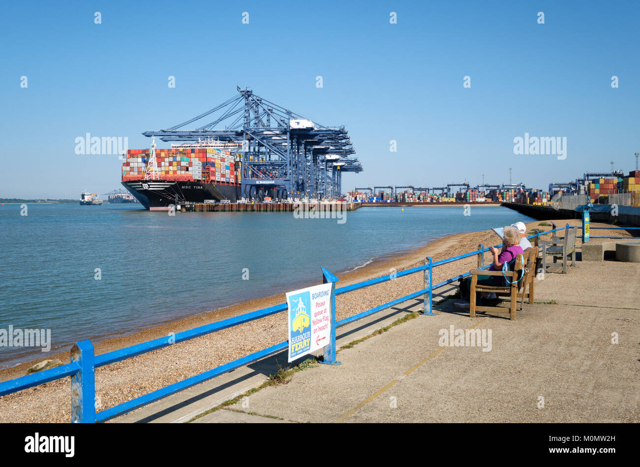 MSC (Mediterranean Shipping Company) container ship MSC Tina  being unloaded in the Port of Felixstowe, England, Stock Photo