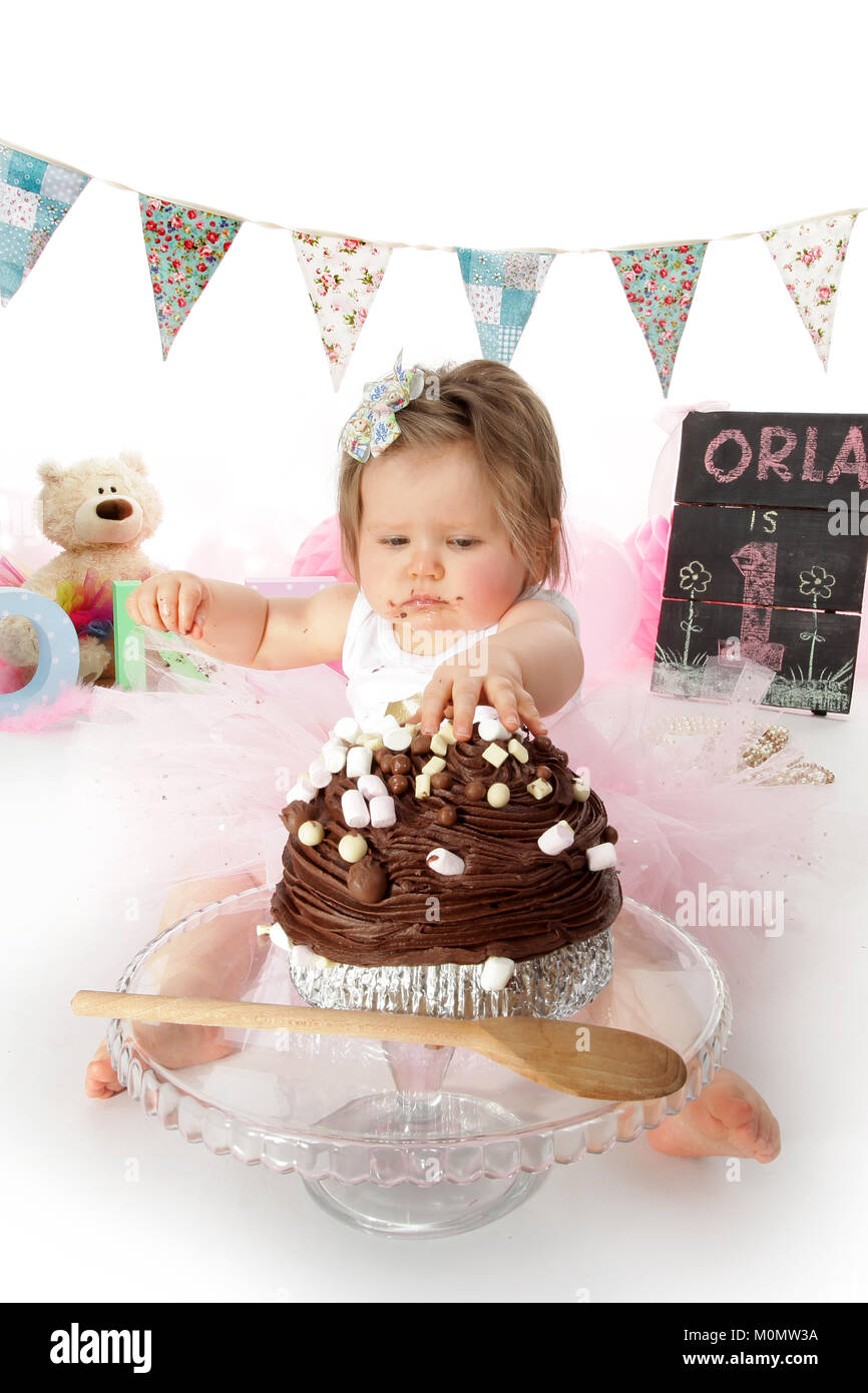 Awesome 1 Year Old Girl Birthday Party Cake Smash Messy Chocolate Cake Funny Birthday Cards Online Inifofree Goldxyz