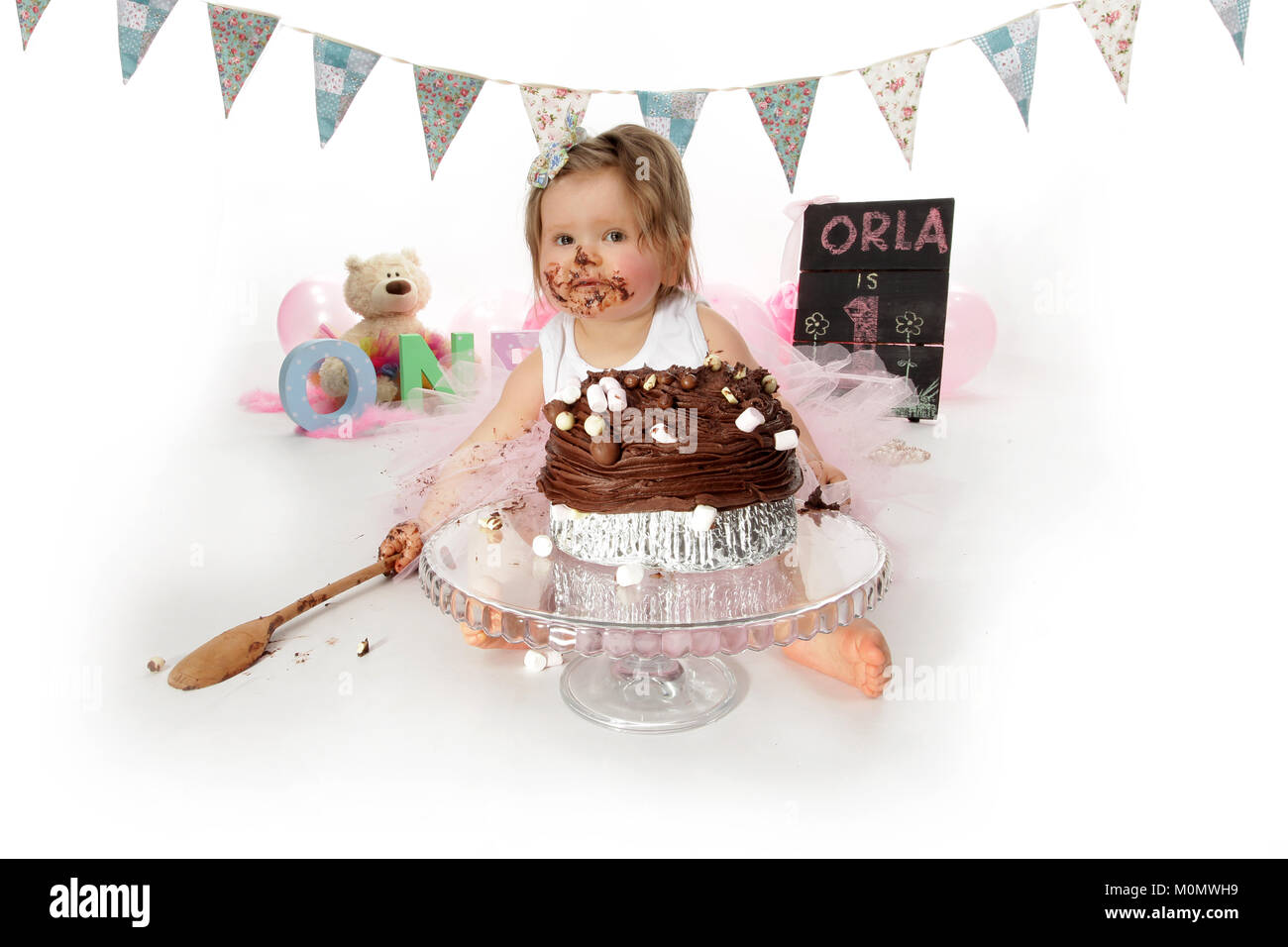 Miraculous 1 Year Old Girl Birthday Party Cake Smash Messy Chocolate Cake Funny Birthday Cards Online Eattedamsfinfo