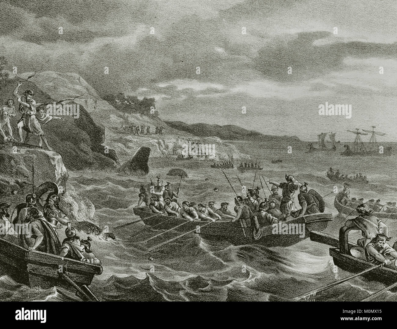 Carthaginian Iberia (575-206 B.C). Balearic Islands. Attack and conquest by the Carthaginians (247-183 B.C.). Engraving, - Stock Image