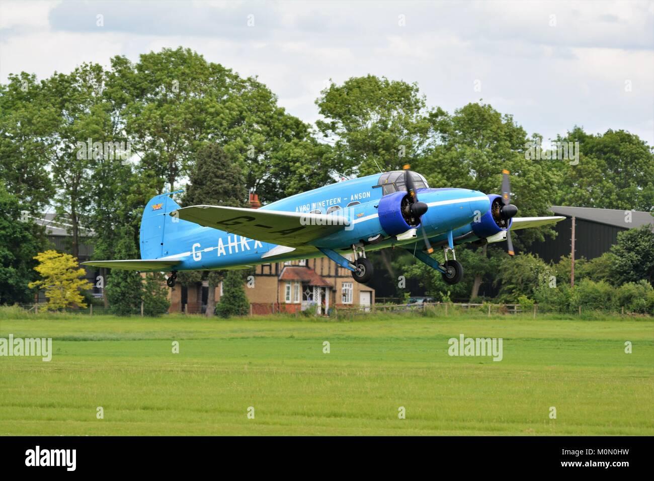 Avro Anson G-AHLX civil light passenger monoplane at Shuttleworth collection airshow 2017 - Stock Image