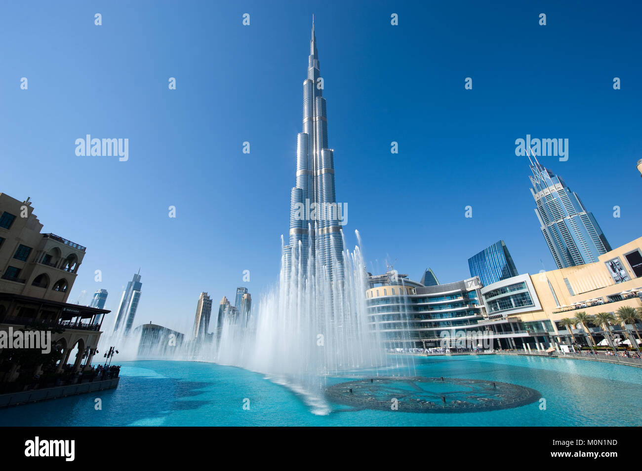 DUBAI, UNITED ARAB EMIRATES - JAN 02, 2018: Fountainshow in front of the Burj Khalifa in the center of Dubai, it - Stock Image