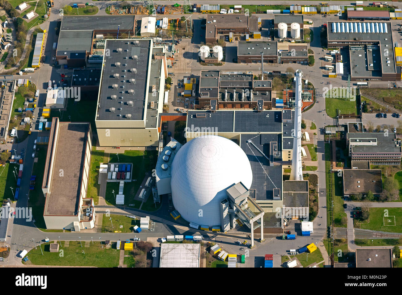 Grohnde nuclear power plant, nuclear power, nuclear power plant on the River Weser, pressurized water reactor from - Stock Image