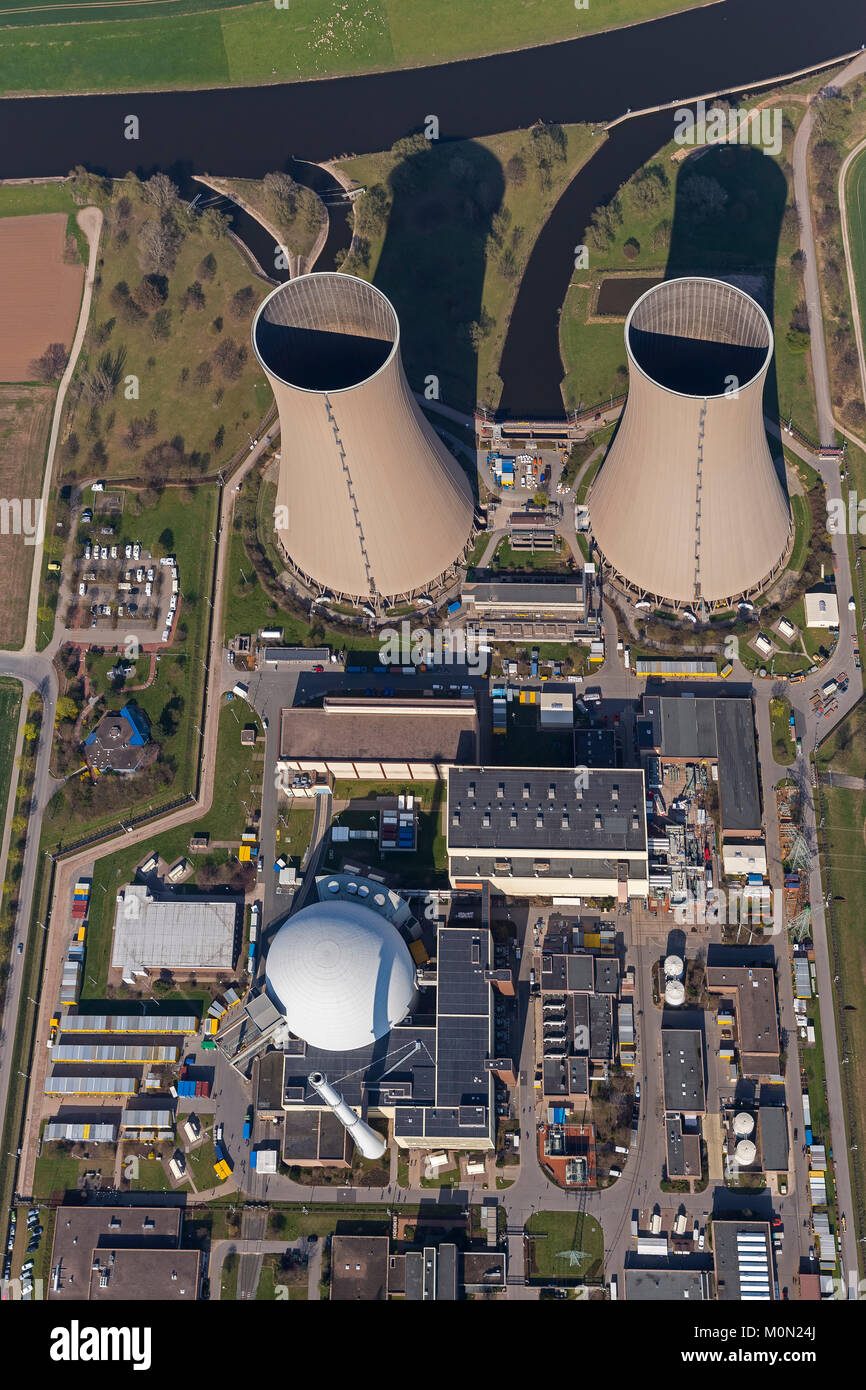 Grohnde nuclear power plant, nuclear power, nuclear power plant on the River Weser, cooling towers, pressurized - Stock Image