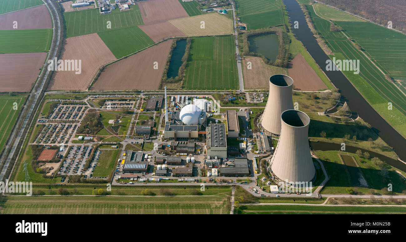 Grohnde nuclear power plant, nuclear power, nuclear power plant on the River Weser, cooling towers, pressurized Stock Photo
