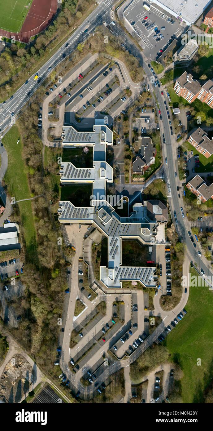 District house Detmold with Road Traffic Office Felix-Fechenbach-Str. 5, aerial photograph of Detmold, Detmold, North Rhine-Westphalia, Germany, Europ Stock Photo