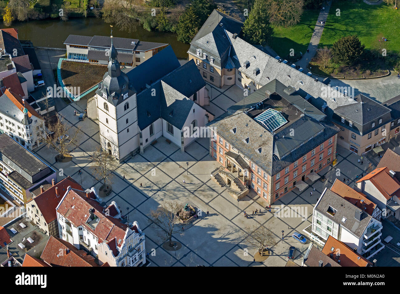 nnew marketplace with Redeemer Church and Martin Luther Church, aerial photograph of Detmold, Detmold, North Rhine Rhine-Westphalia, Germany, Europe,  Stock Photo