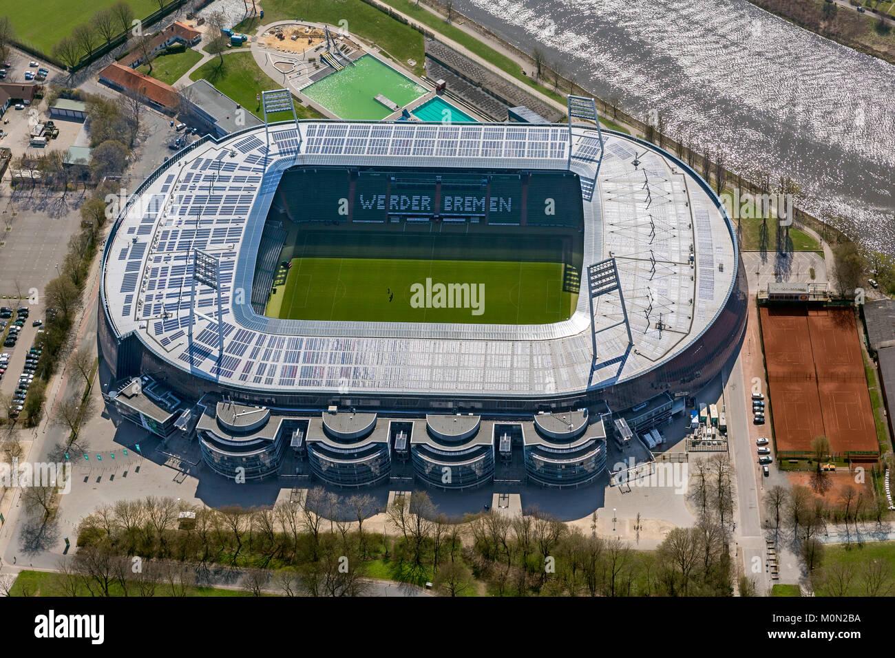 Weserstadion of Werder Bremen GmbH & Co. KGaA, Bundesliga football club, solar roof, Stadium football stadium - Stock Image