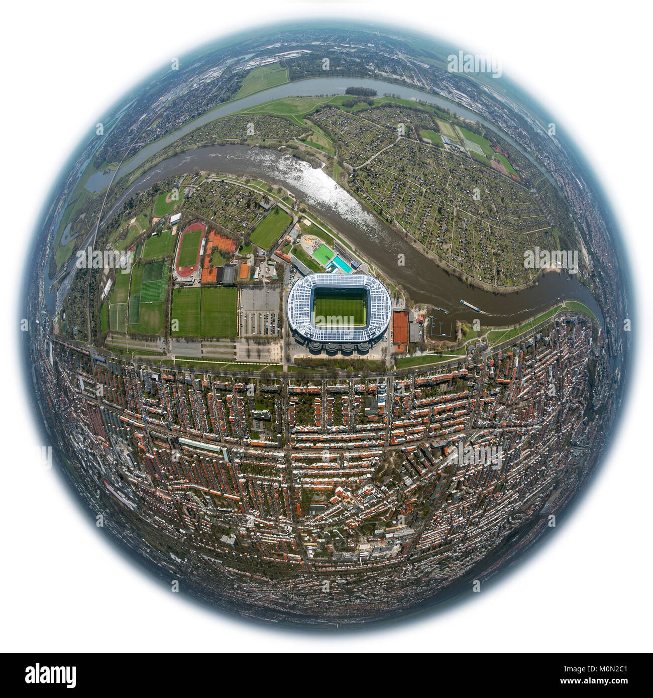 Weser stadium of SV Werder Bremen GmbH & Co. KGaA, Bundesliga, club, fish eye lens, solar roof, Stadium football - Stock Image