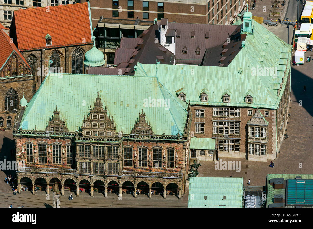 Bremen City Hall, citizenship, green copper roof, downtown Bremen, City, aerial view, aerial photographs of Bremen, - Stock Image