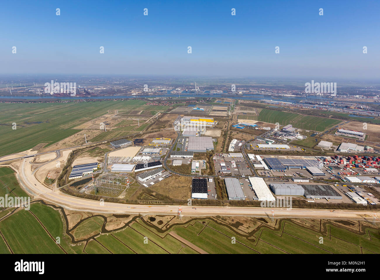 GVZ Bremen, goods distribution center, industrial zone south of the port of Bremen, aerial view, aerial photographs - Stock Image