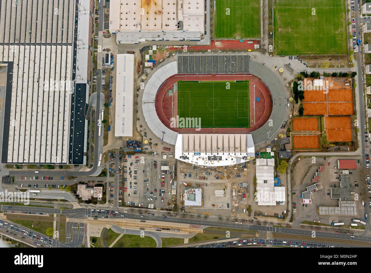 Stadium of the Eintracht Braunschweig with west and east grandstand, The Brunswick gymnastic and sports club Eintracht - Stock Image
