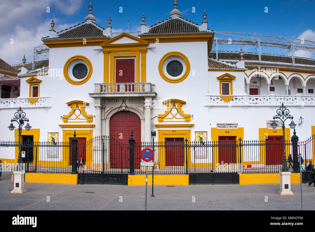 Seville, Andalusia, Spain - bullring (plaza de toros) is called the Plaza de Toros de la Real Maestranza de Caballería - Stock Image