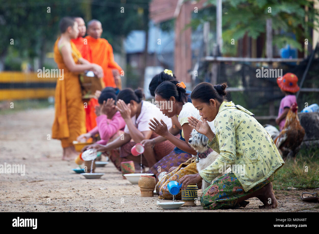 Woman giving alms to monks in the early morning at Don Khon, 4000 Islands in Southern Laos - Stock Image