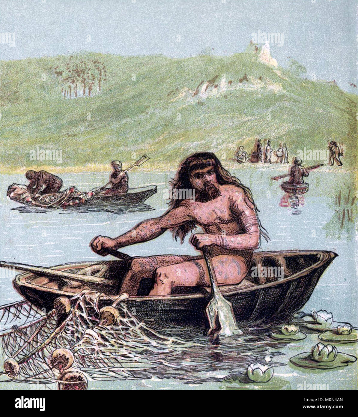 Ancient Briton fishing from a coracle. Illustration from a book published in 1868 - Stock Image