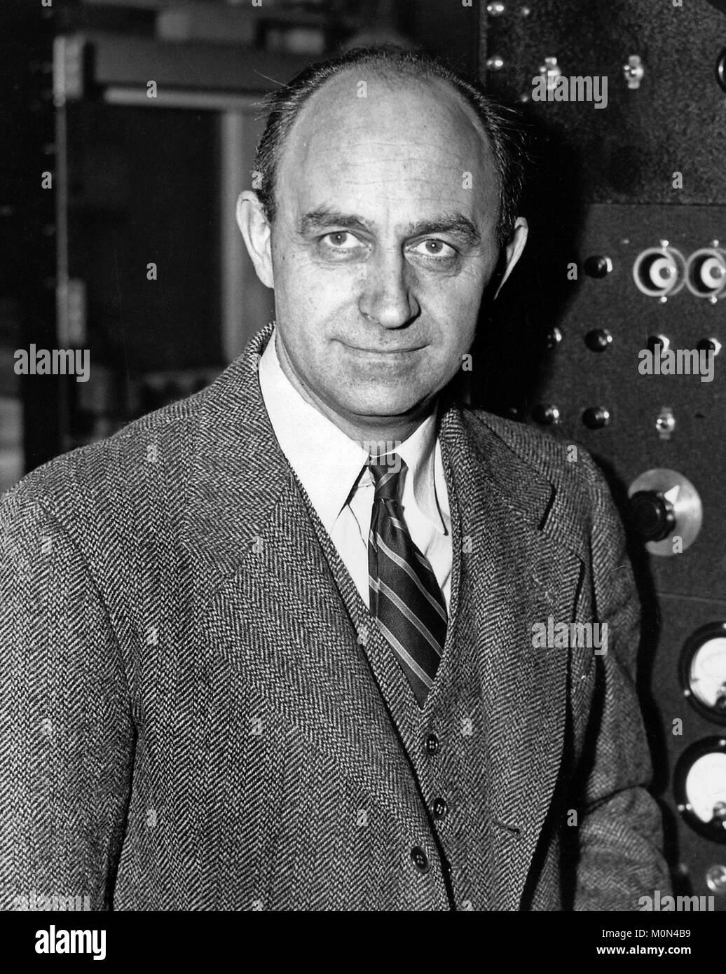 Enrico Fermi (1901-1954). Portrait of the Italian-American nuclear physicist, c.1943-6 Stock Photo