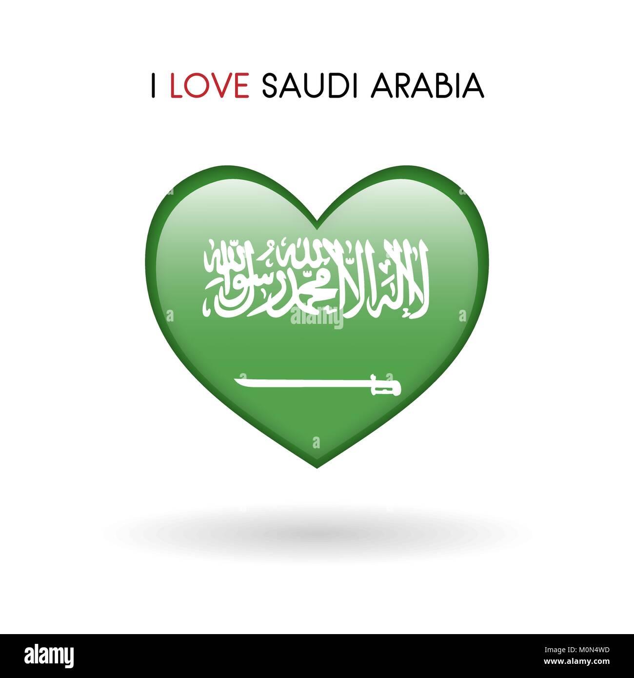 Love Saudi Arabia symbol. Flag Heart Glossy icon vector illustration isolated on gray background eps10 - Stock Image