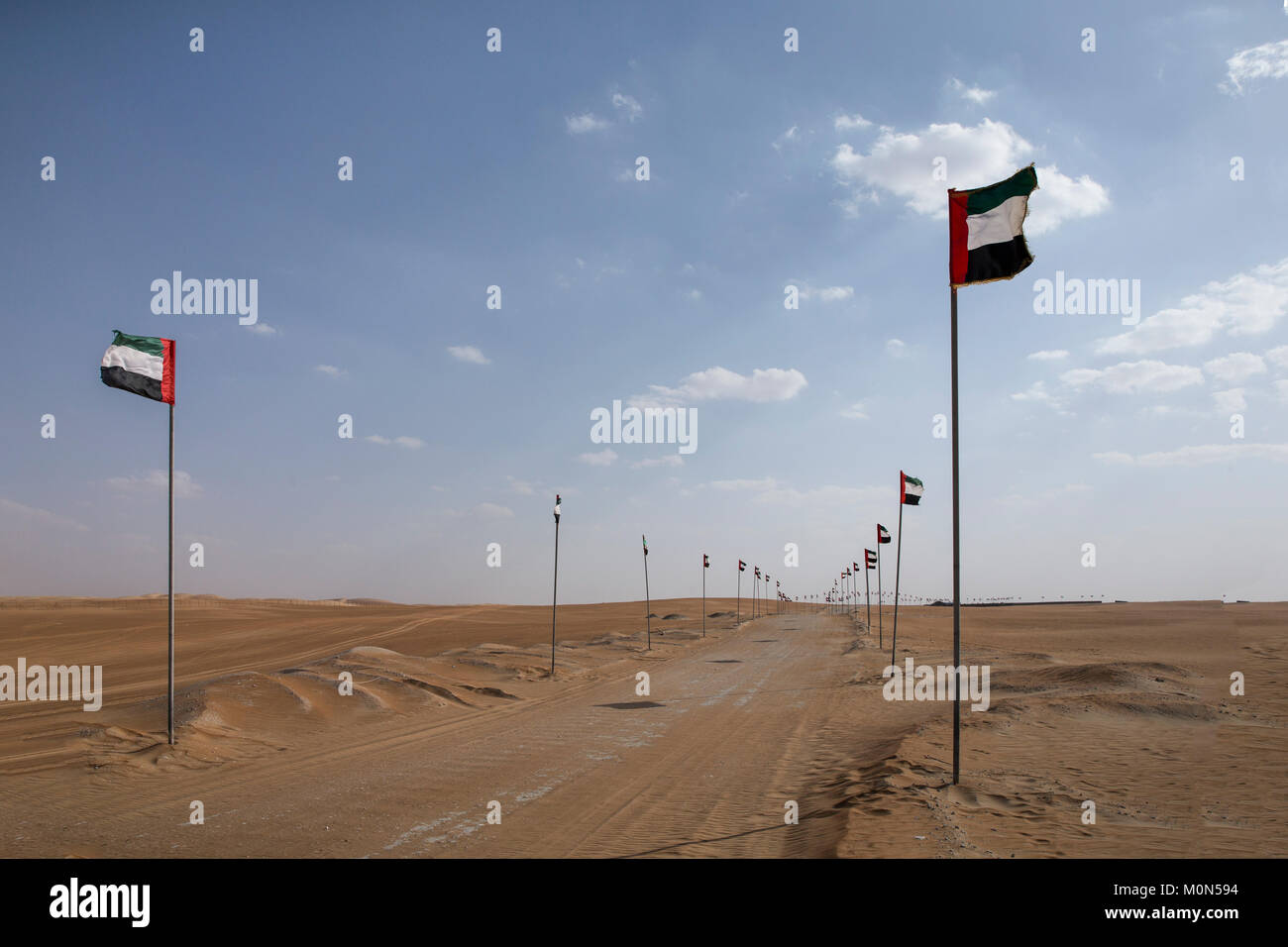 UAE flags lining a road in a desert Stock Photo