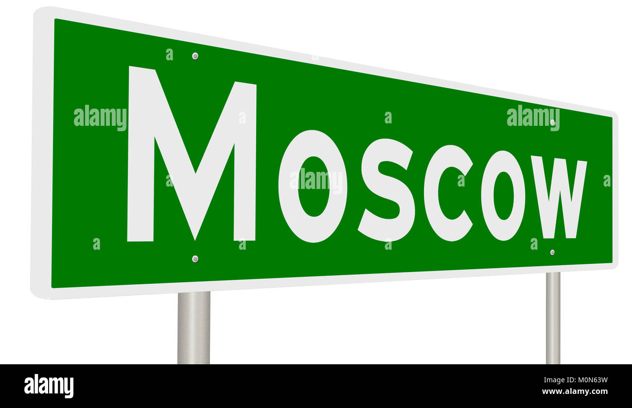 Green highway sign for Moscow - Stock Image