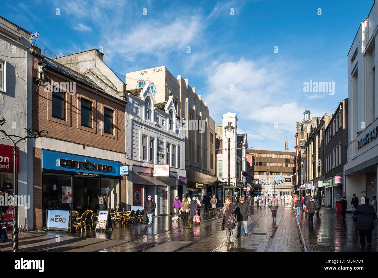 View along Murraygate pedestrian street towards Wellgate shopping centre in Dundee, Scotland, United Kingdom - Stock Image