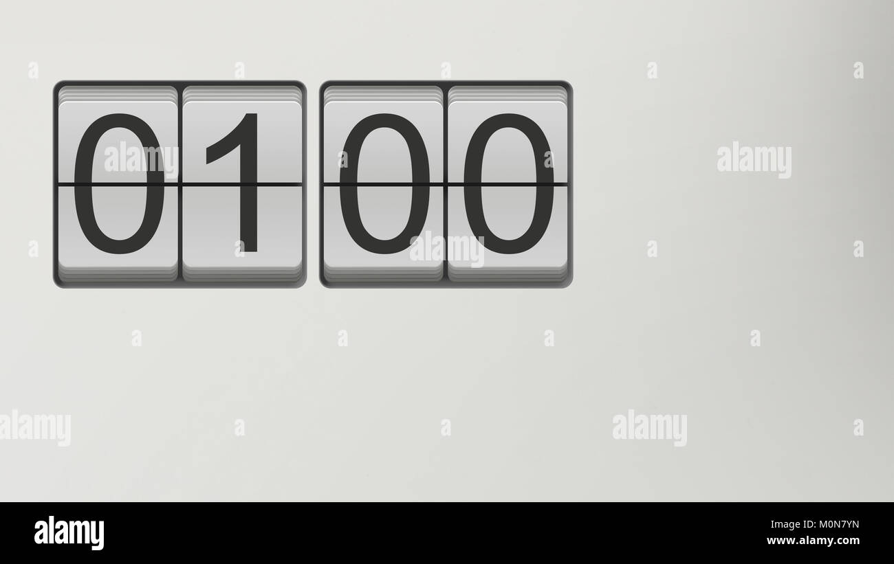 Vintage flip clock watch face with black numbers on white background showing hour and minutes set to 01:00; great - Stock Image