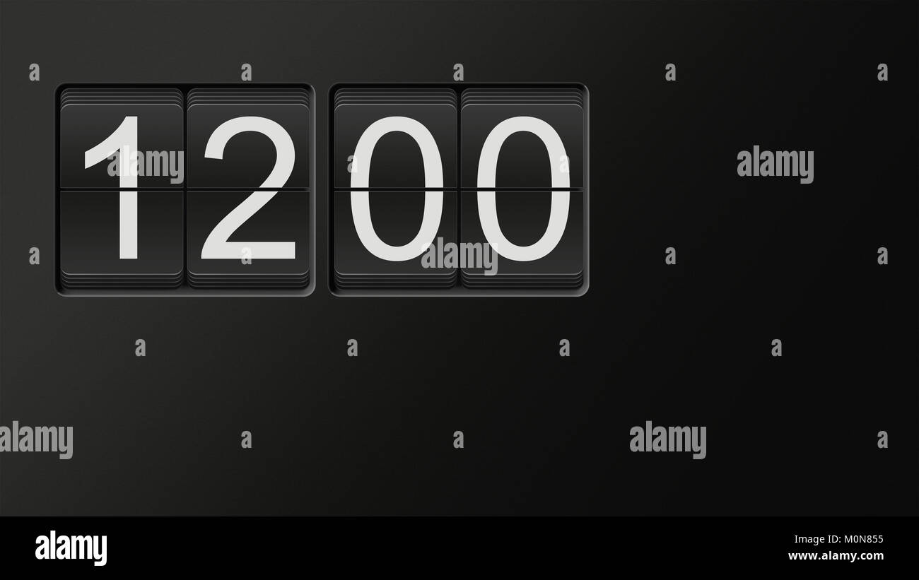 Classic flip clock watch face showing hour and minutes set to 12:00 with white numbers on black background; great - Stock Image
