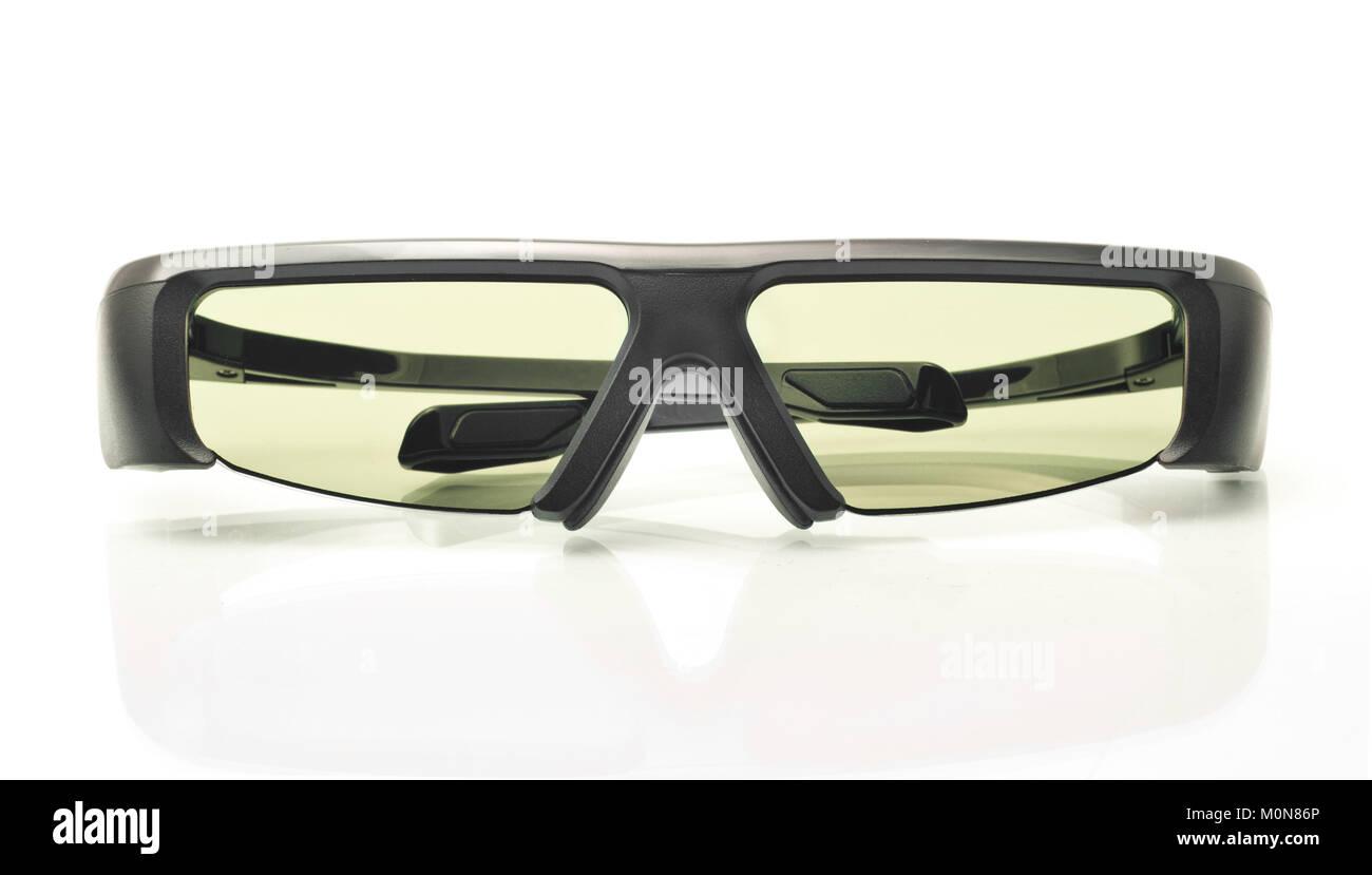 Stereo 3D TV: active shutter glasses over white background - Stock Image