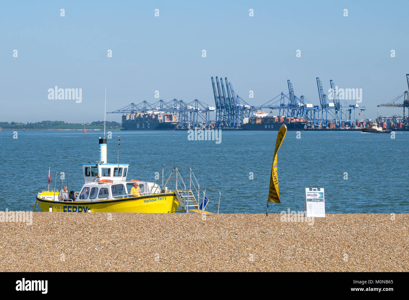 Harwich harbour foot/bicycle ferry ready to depart from Landguard point, Felixstowe, Suffolk, England, UK - Stock Image