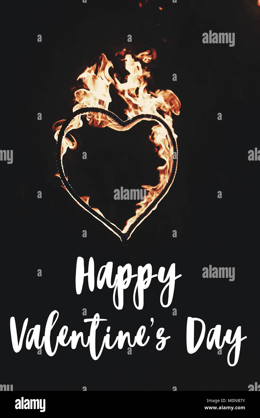 Happy Valentines Day Text Greeting Card Fire Heart Firework On