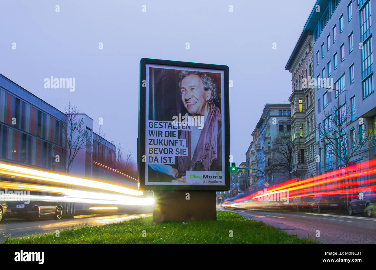 Shaping the future: Curious advertising of the Doc Morris Internet pharmacy. - Stock Image