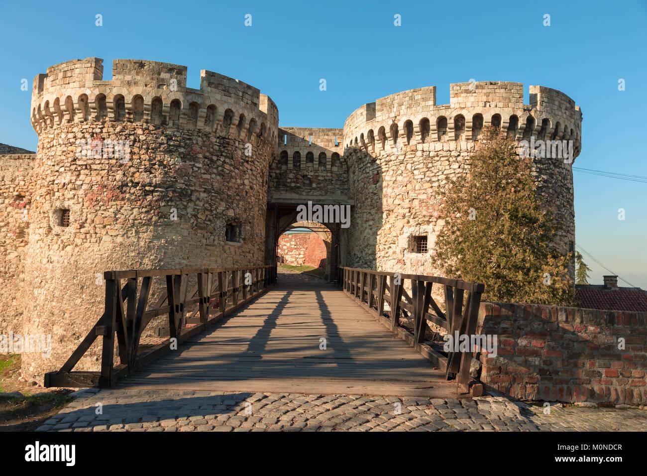 Walls and leafless trees of famous Kalemegdan castle in Belgrade - Stock Image