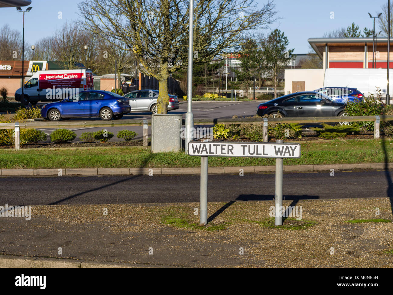 Walter Tull Way, a road sign at Sixfields, Northampton, UK; it honours the man who was a professional footballer - Stock Image