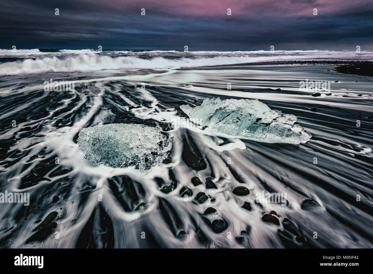 Diamond Beach, Iceland - Stock Image