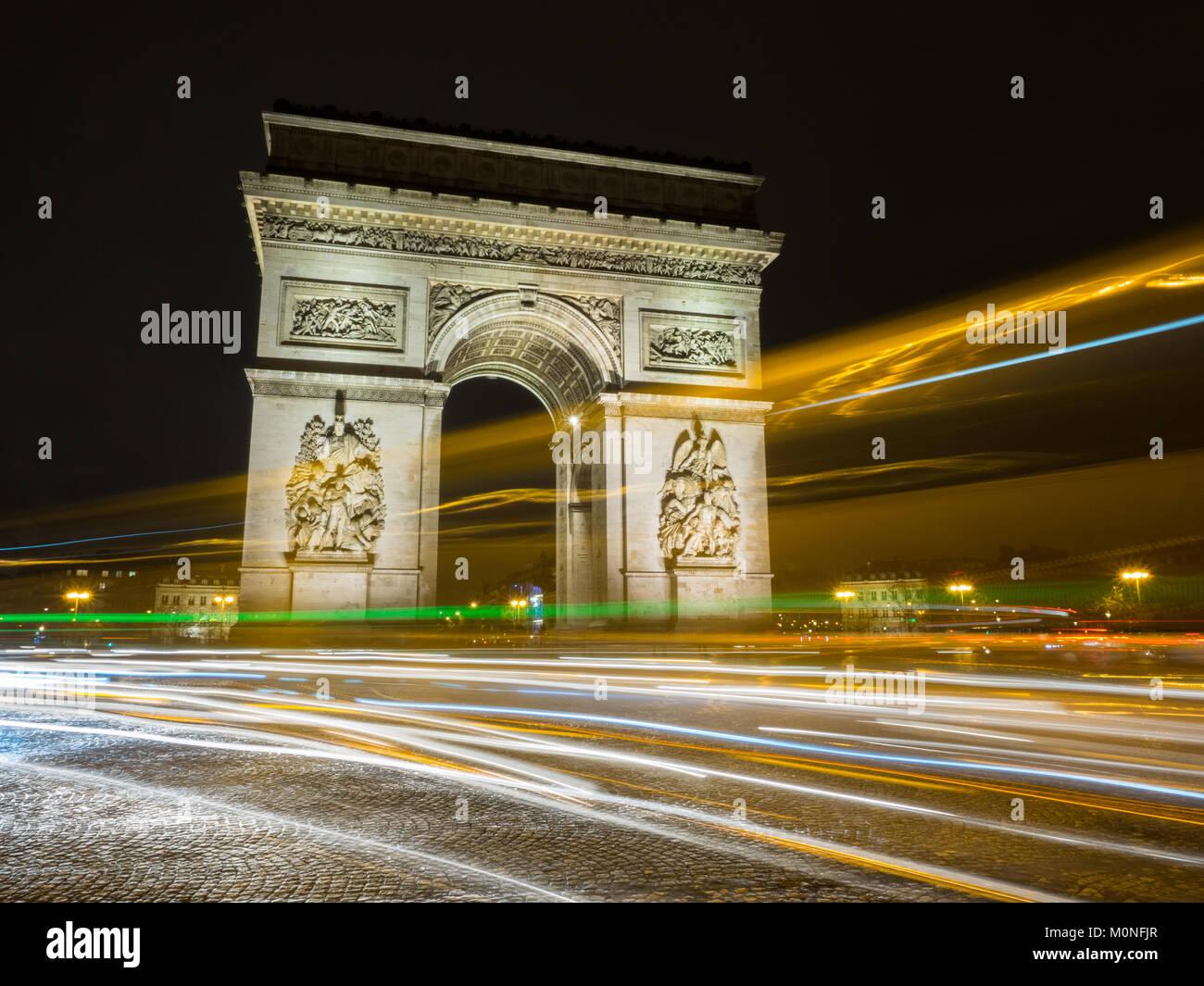 Arc de Triumph at night, Paris, France - Stock Image