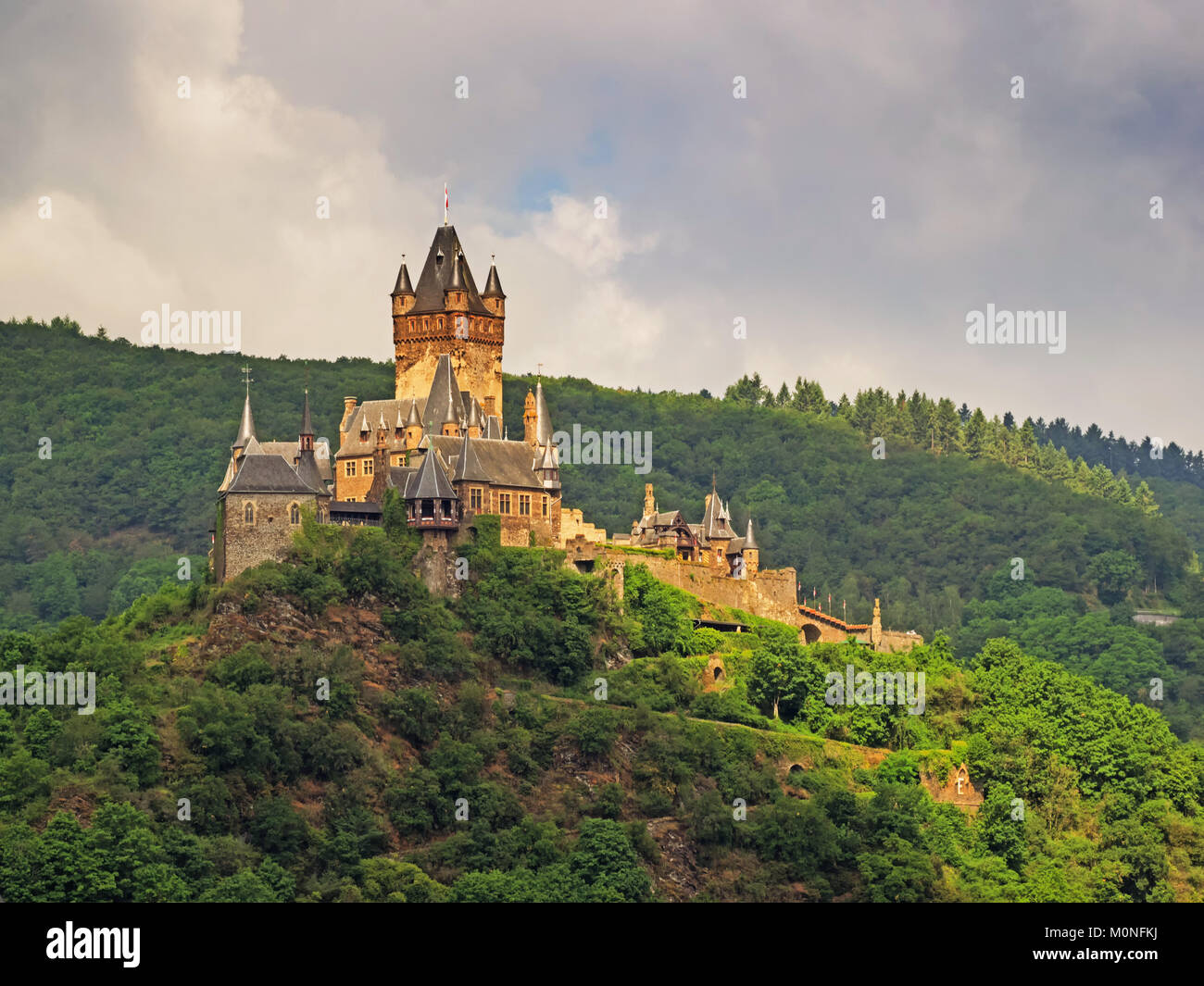 Exterior view of the Castle Reichsburg at Cochem, Germany - Stock Image