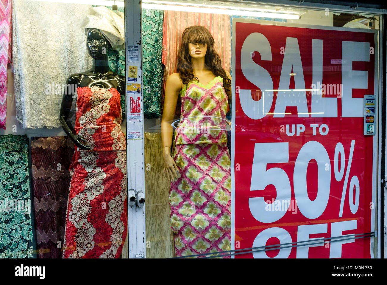 London urban photography: Majestic London, African fashion wear and cloth, Petticoat Lane market, East London. - Stock Image