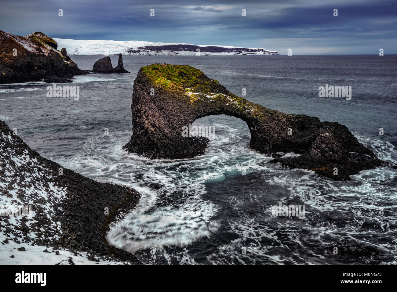 Basalt formations of Raudanes peninsula in Iceland - Stock Image