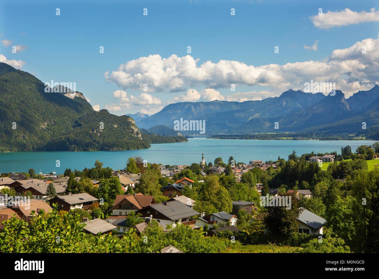 Austria, Salzburg State, Salzkammergut, Sankt Gilgen, Lake Wolfgangsee - Stock Image