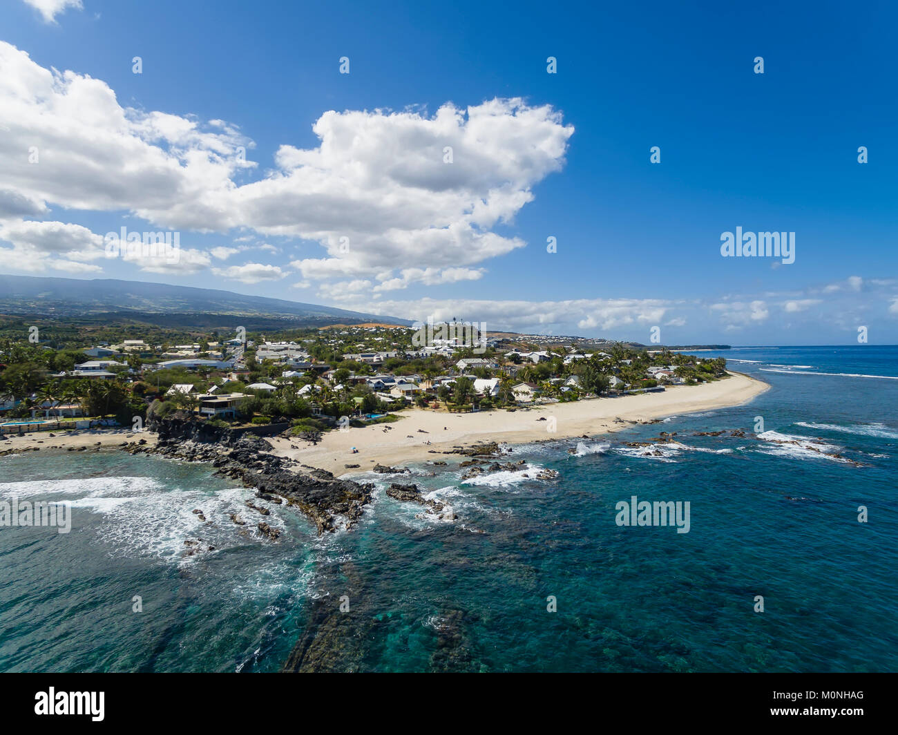Reunion, West Coast, Grand Fond, beaches Plage des Aigrettes and Plage Cap Homard - Stock Image