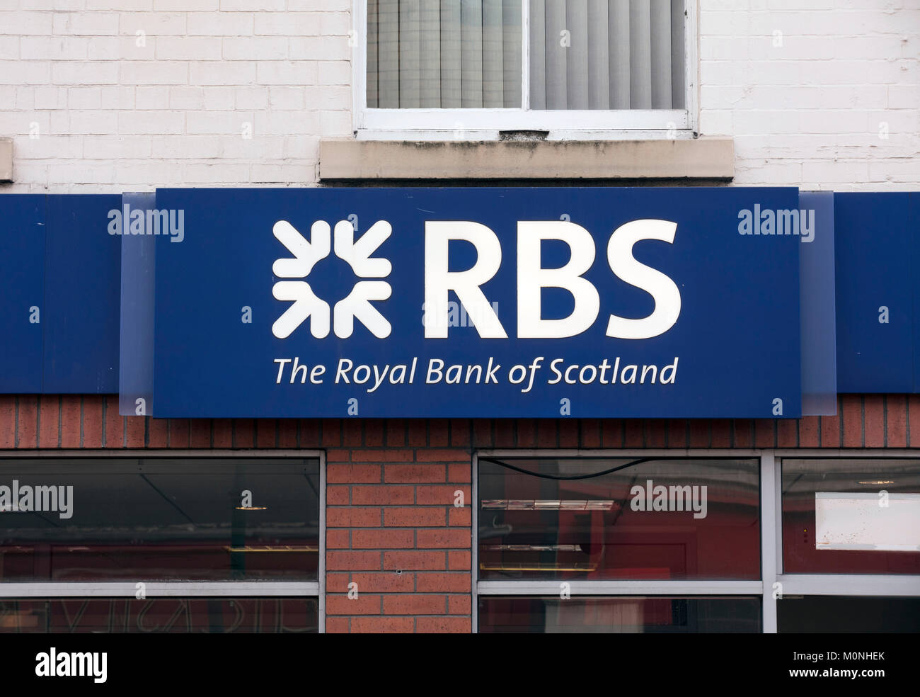 Royal Bank of Scotland sign on the high street - Scunthorpe, Lincolnshire, United Kingdom - 23rd January 2018 - Stock Image
